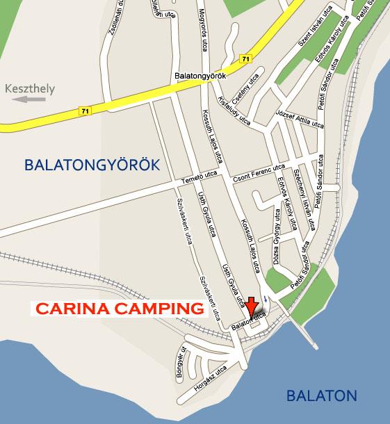 balatongyörök térkép Carina Camping Balatongyörök   nyaralás, szállás, campingezés  balatongyörök térkép